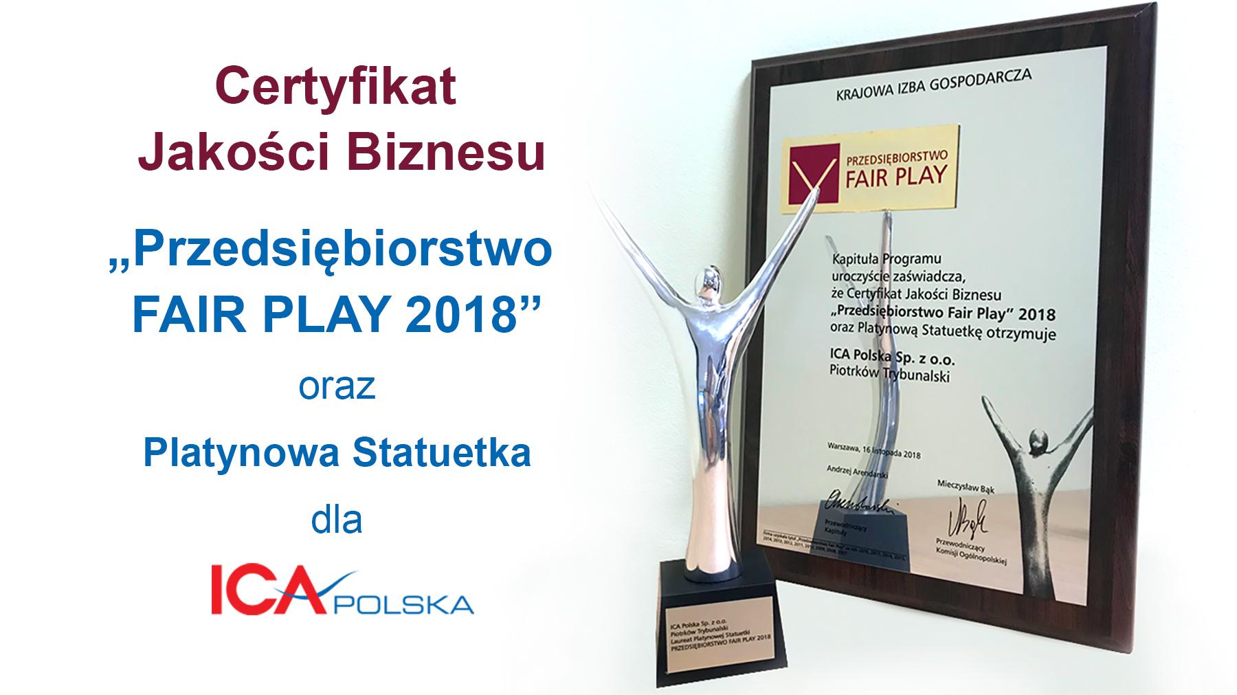 """ICA Polska otrzymała Certyfikat Jakości Biznesu """"Przedsiębiorstwo Fair Play 2018"""" oraz Platynową Statuetkę 🏆👌😁 Jesteśmy dumni!"""